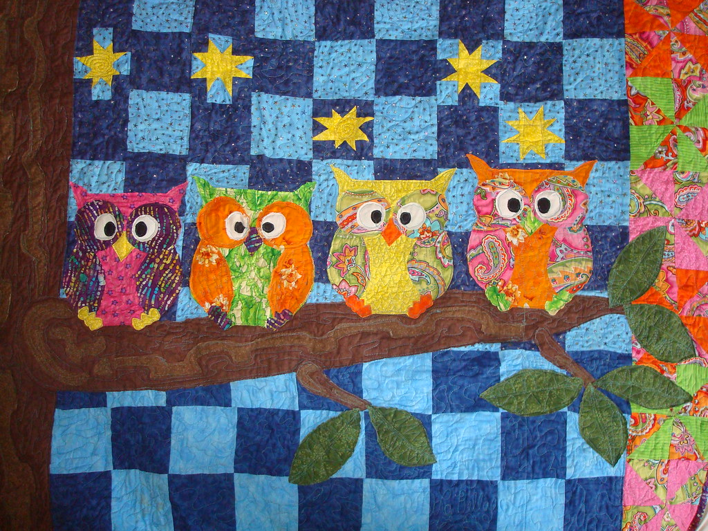 owl quilt WIP quilting sneak peeks 4 owls on a branch with? Flickr