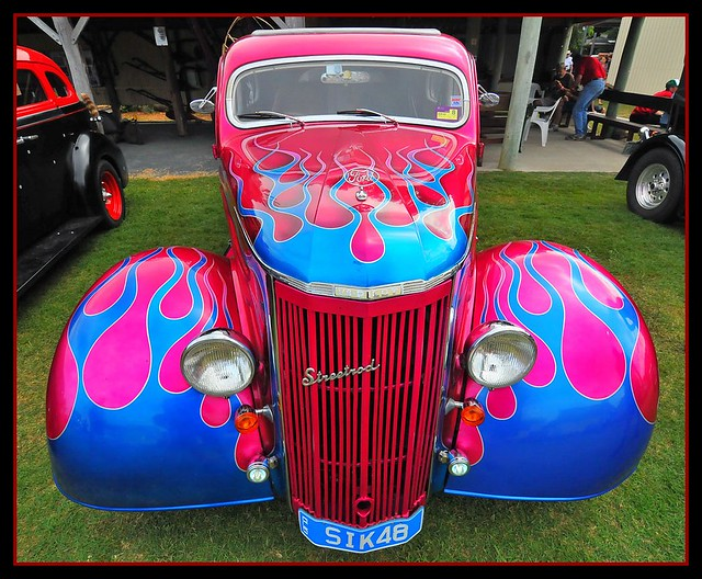 yeah baby hot rod at local car show paint job unreal