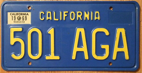 CALIFORNIA 1969 LICENSE PLATE ---BLUE BASEPLATE | by woody1778a