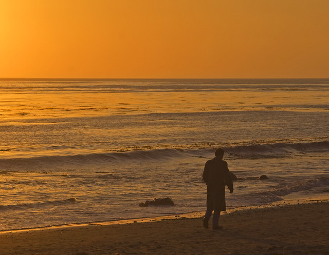 Lonely with a broken heart   Sunset along the California ...