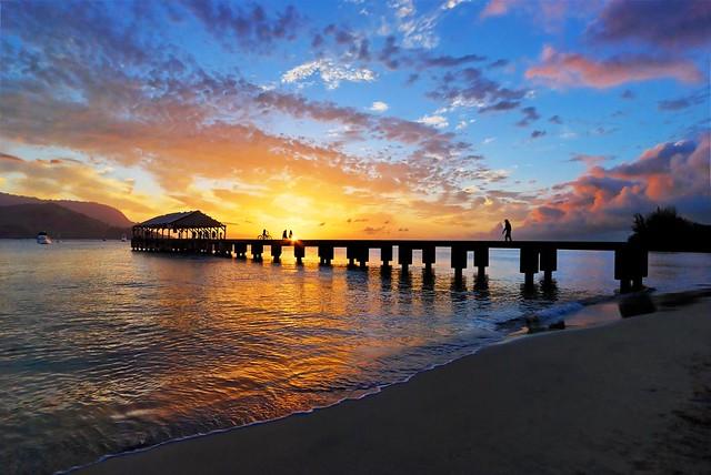 Hanalei Pier Kauai Sunset At Hanalei Bay Mojo2u Flickr