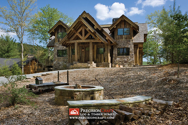 Front elevation post beam log home precisioncraft lo for Log and stone home plans