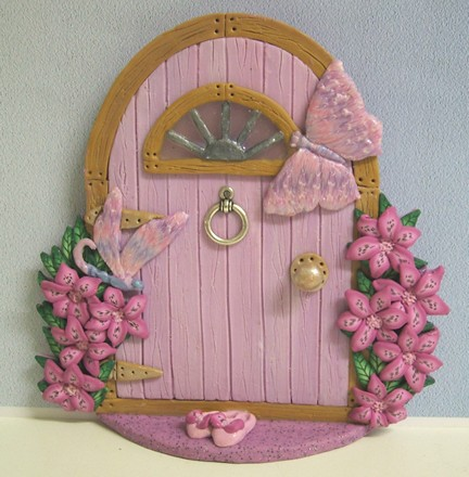 Pink fairy door with shoes handmade in polymer clay with for Pink fairy door