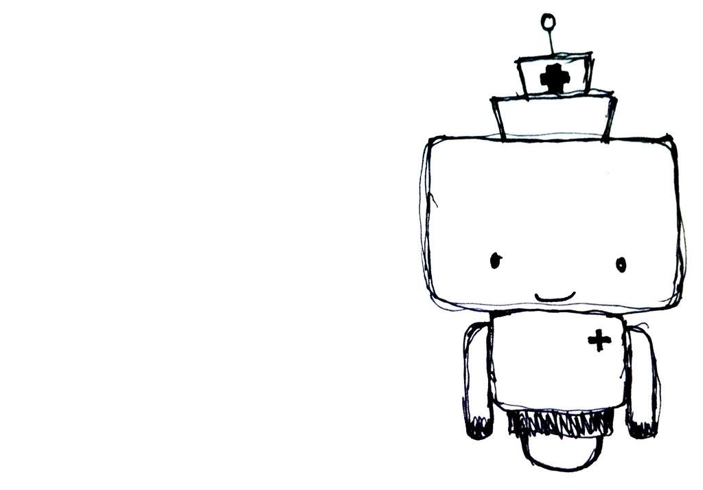 Cute Robot Doodles Nurse Robot Doodle