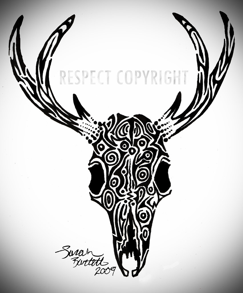 deer skull tattoo since the tribal tattoos i did on my han flickr. Black Bedroom Furniture Sets. Home Design Ideas