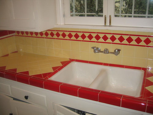 Red And Yellow La Deco Kitchen Countertop