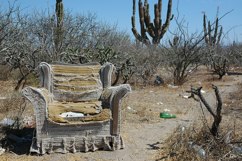 Armchair philosophy; All the comforts of home, roadside worship area, worn out armchair in the desert, near La Paz, Baja California Sur, Mexico | by Wonderlane