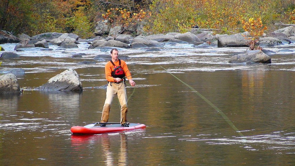 Stand up paddleboard fly fishing from a stride sup that ca for Fly fishing paddle board