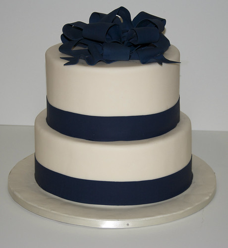 Wedding Cake Navy Blue Ribbon