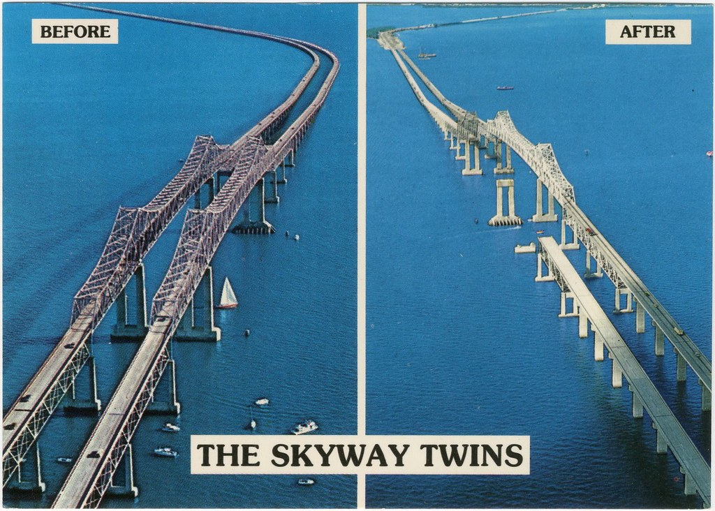 The skyway twins the before and after of the famous for Skyway bridge fishing report