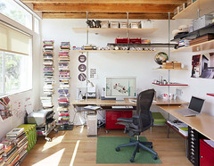 Office of floating shelves | by Jeremy Levine Design