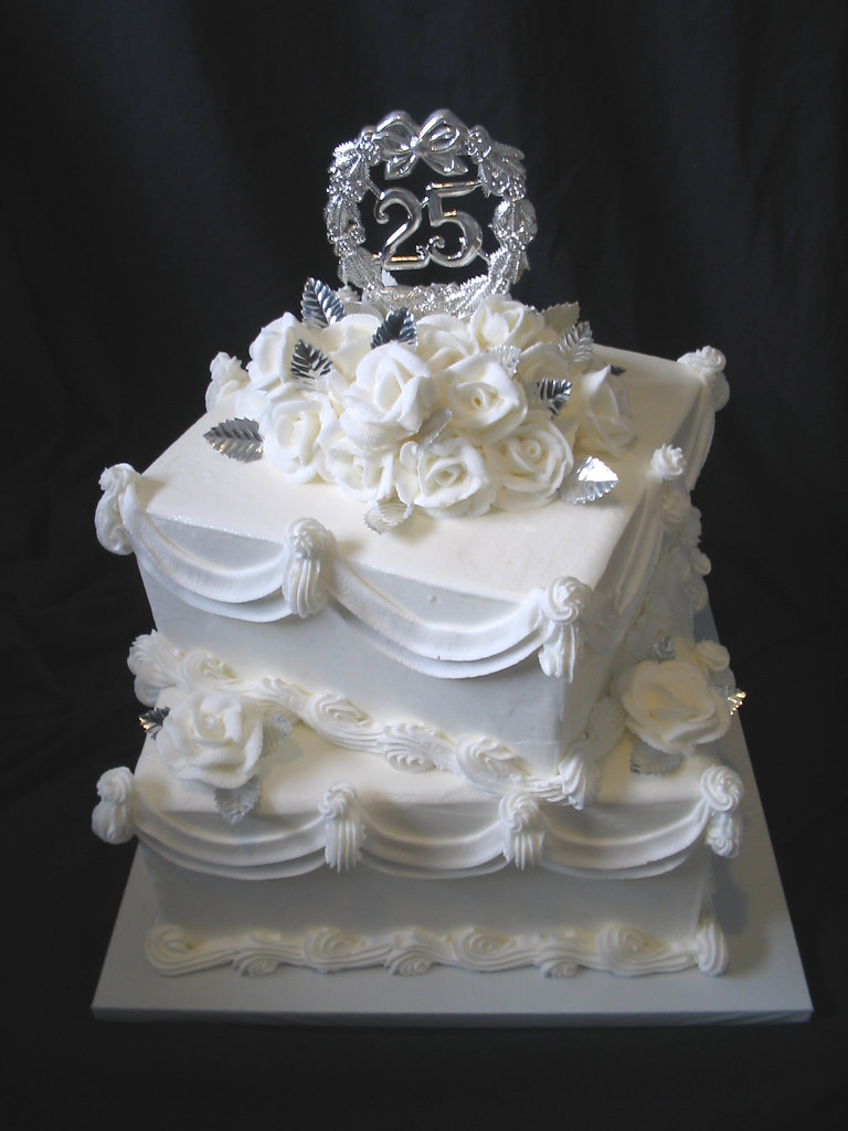 silver wedding cakes single tier 25th wedding anniversary square 2 tier giggy s cakes and 19892