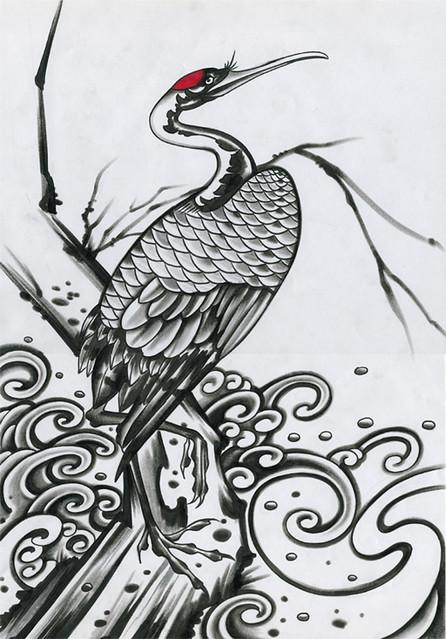 crane bird bunshin tattoo flickr. Black Bedroom Furniture Sets. Home Design Ideas
