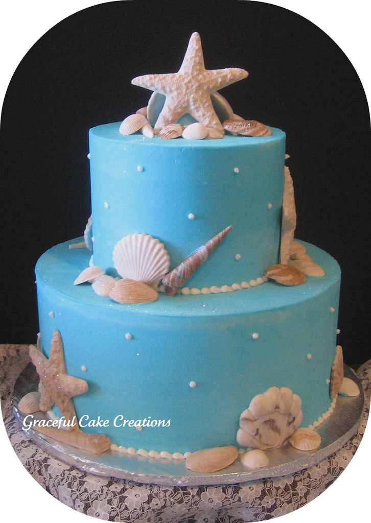sea shells bridal shower cake this cake is iced in blue bu flickr. Black Bedroom Furniture Sets. Home Design Ideas