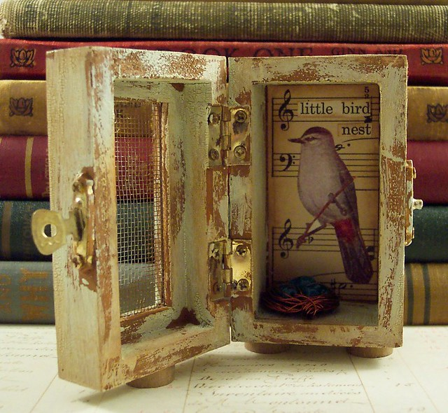 Bird And Nest Shrine Box Collage Altered Wooden Box With