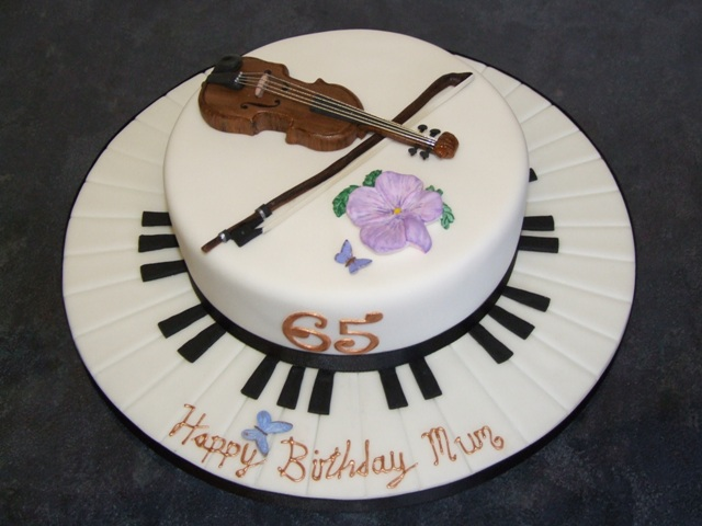 Violin Cake 65th Birthday Cake With Volin Amp Bow Made