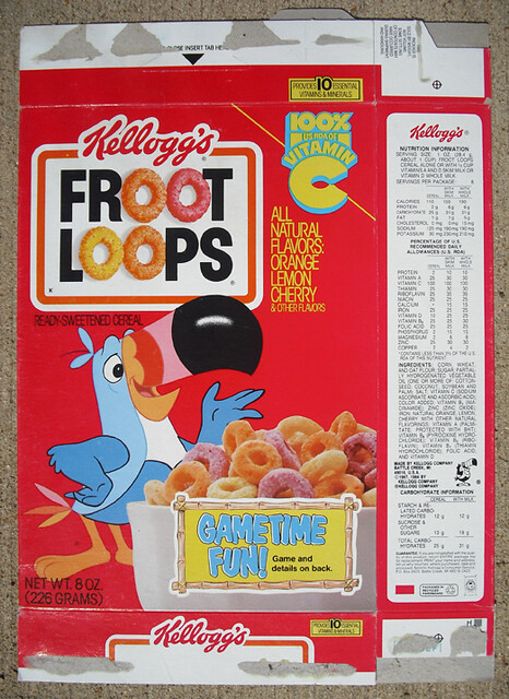 1984 Kellogg's Froot Loops Cereal Box Front | Gametime Fun ...