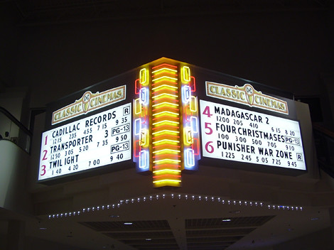 Classic Cinemas Custom Neon Sign With Manual Readerboards