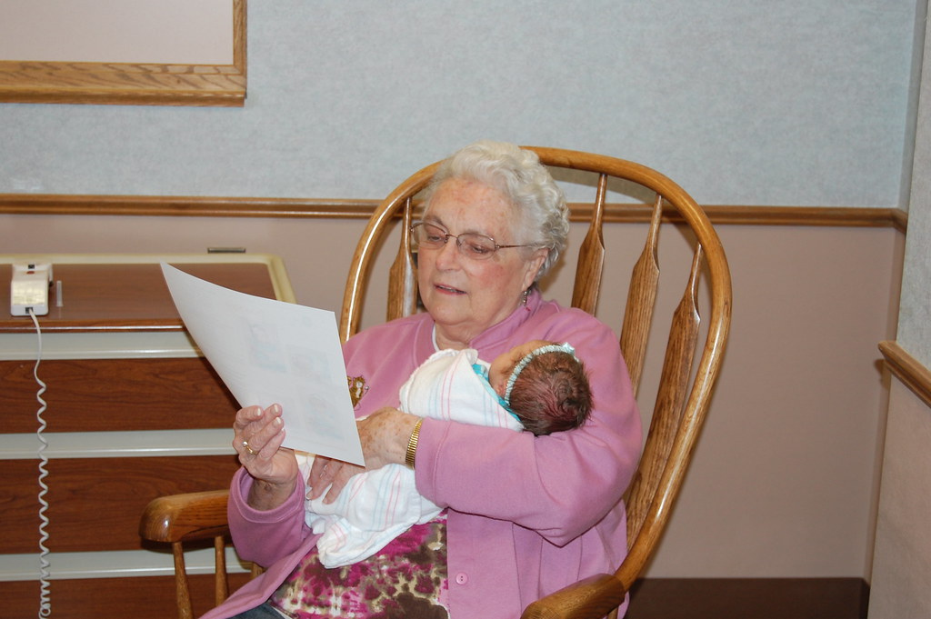 Great grandma in a rocking chair severs