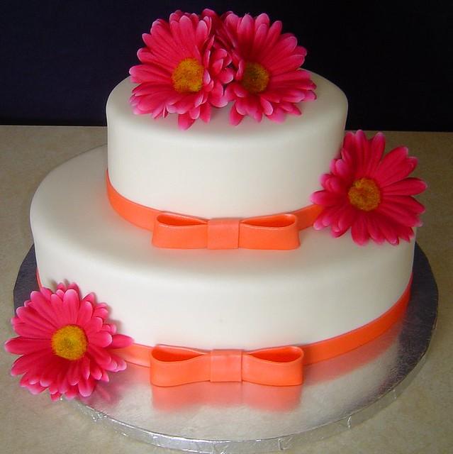 Fuschia And Orange Bridal Shower Cake Simple Bridal