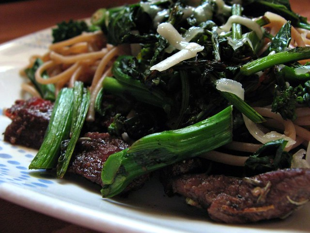 Spaghetti with sauteed beef and broccoli rabe, with balsam ...
