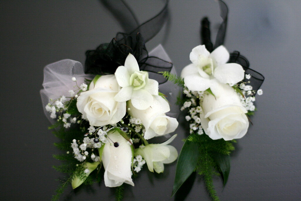 White Rose And Orchid Corsage White Rose Orchid