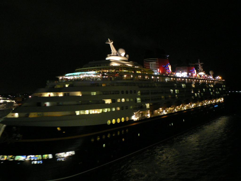 Disney Cruise Ship At Night Nassau  This Ship Was