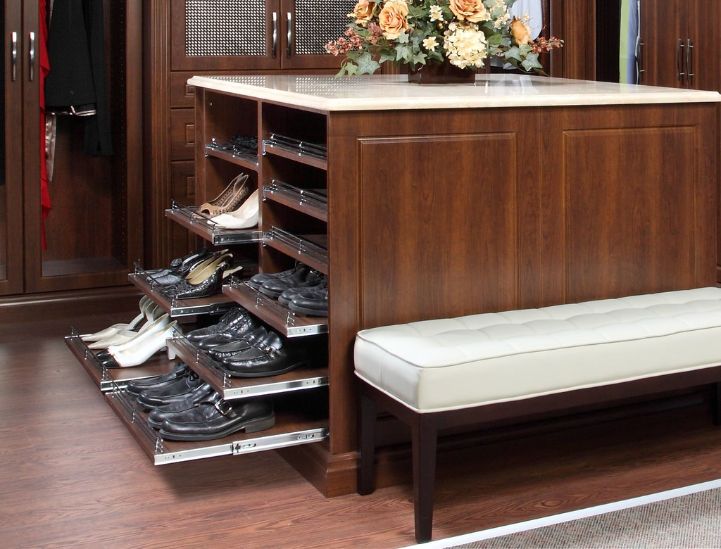 closet island ideas - Island Pull out Shoe Shelves organizedInteriors