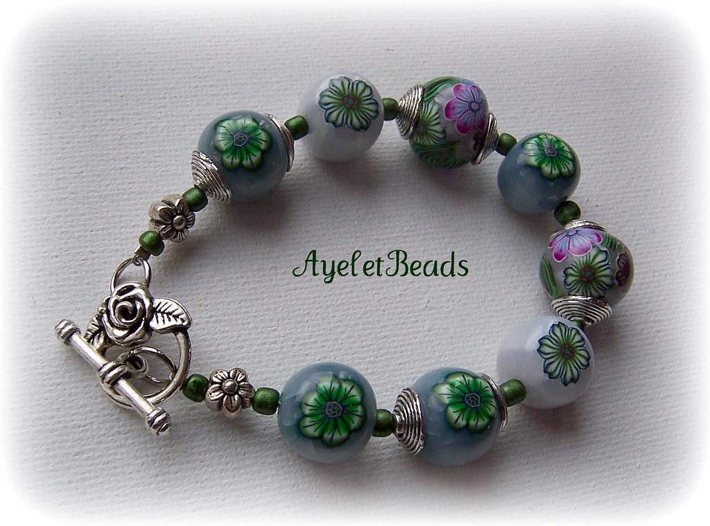 polymer clay bracelet handmade one of a