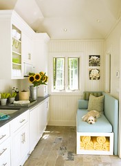 seating in a tiny galley kitchen | by renngrrl