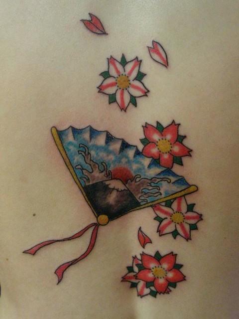 japanese fan tattoo done heaven 39 n 39 hell tattoos pierc flickr. Black Bedroom Furniture Sets. Home Design Ideas