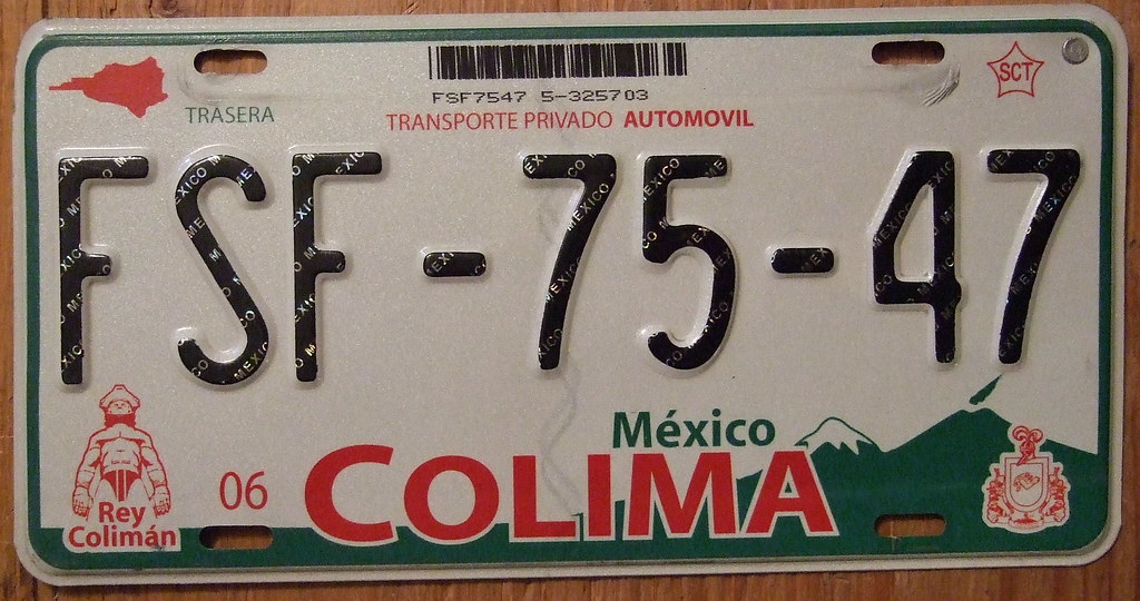 "License Plate Camera >> MEXICO, COLIMA STATE, 2004 SERIES LICENSE PLATE | Jerry ""Woody"" 