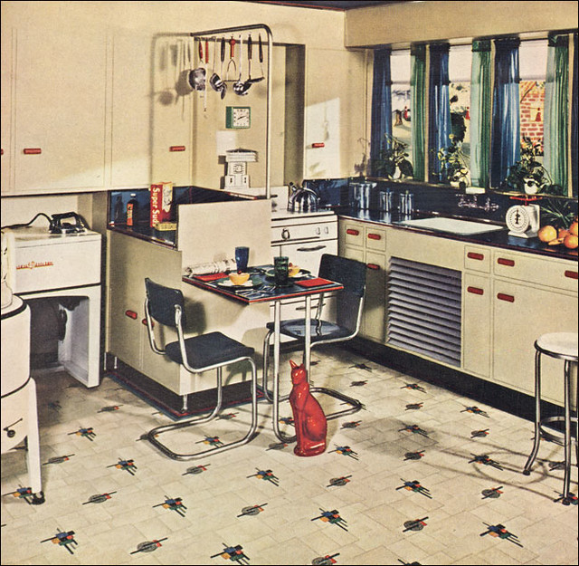 1941 Armstrong Navy, Ivory, & Red Kitchen