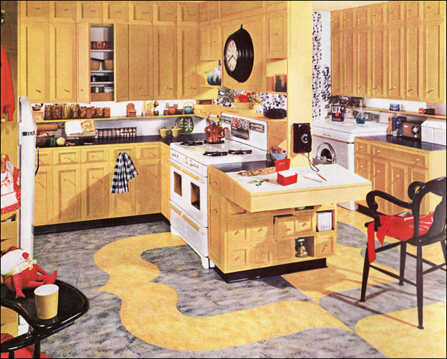armstrong yellow kitchen | 1953 Armstrong Sunflower Yellow Kitchen | I love this ...