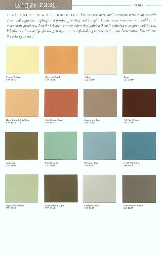 Sherwin Williams Color Preservation Palettes Retro 1950 39 S
