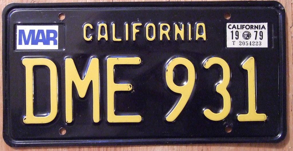 Plate California Number Classic Car