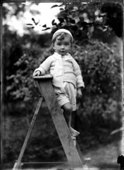Portrait of small barefoot boy on a wooden ladder | by Powerhouse Museum Collection
