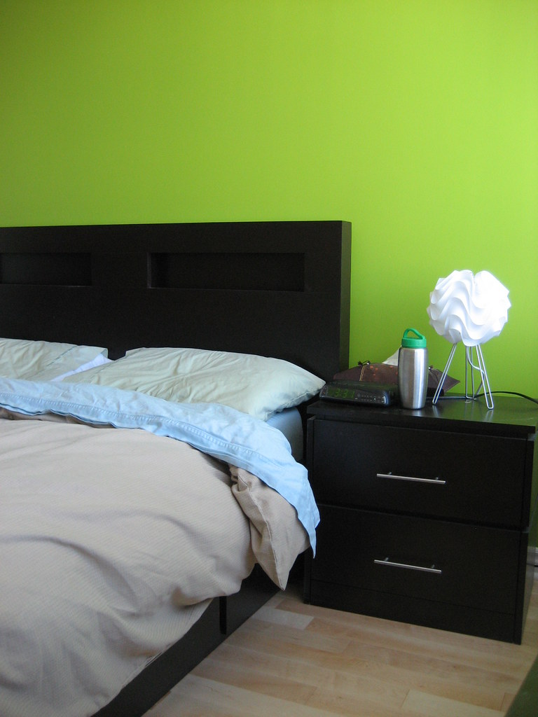 our lime green wall in our bedroom our main bedroom we d…