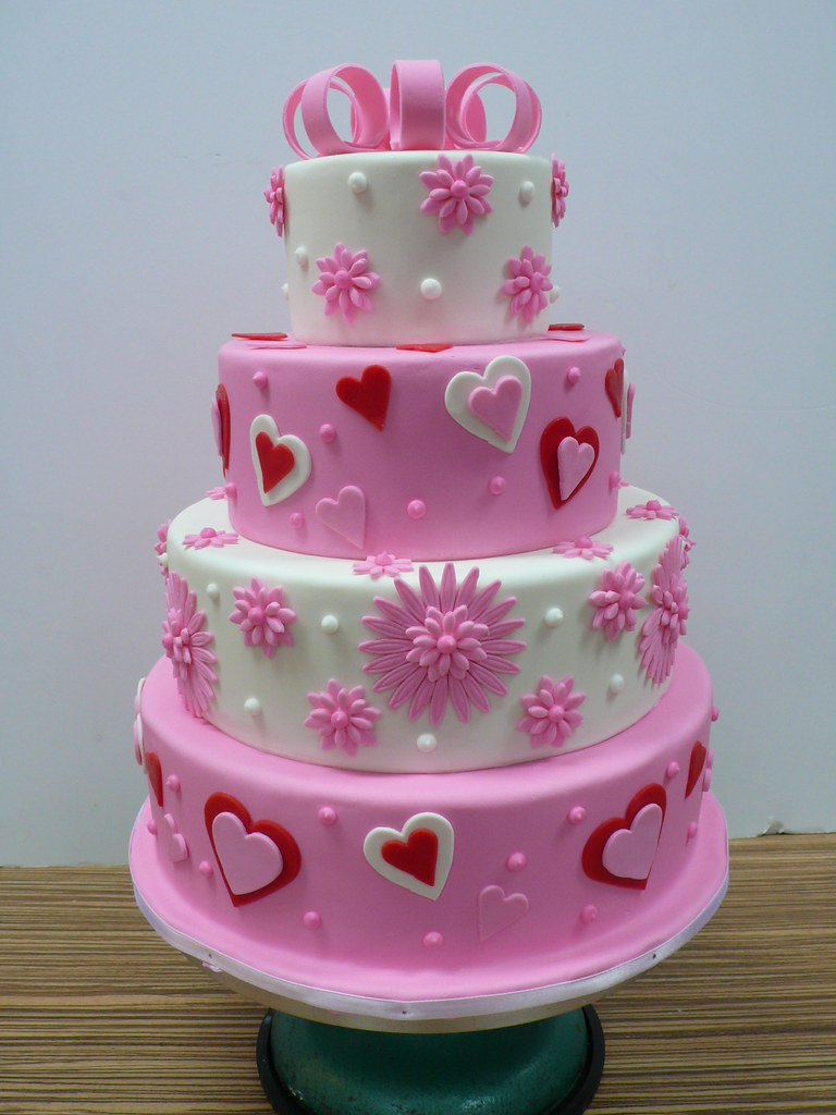 Cake Designs Hearts : pink and white flowers hearts wedding cake Zoe Elizabeth ...