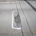 Crumbling pavement in the express lanes