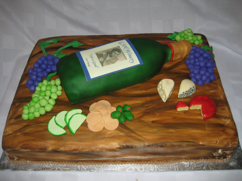 Wine And Cheese Birthday  This cake was so much fun to make ...
