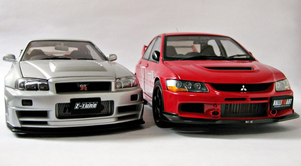Lancer Evolution Ix White Nissan Skyline GT-R (R...