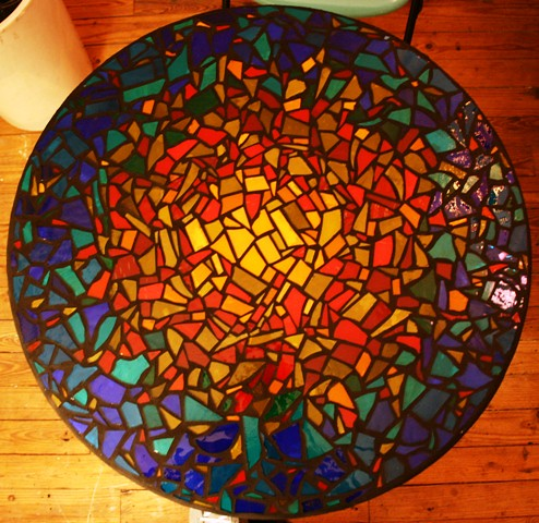 Mosaic Table Top Made For The Art Show And Sale In