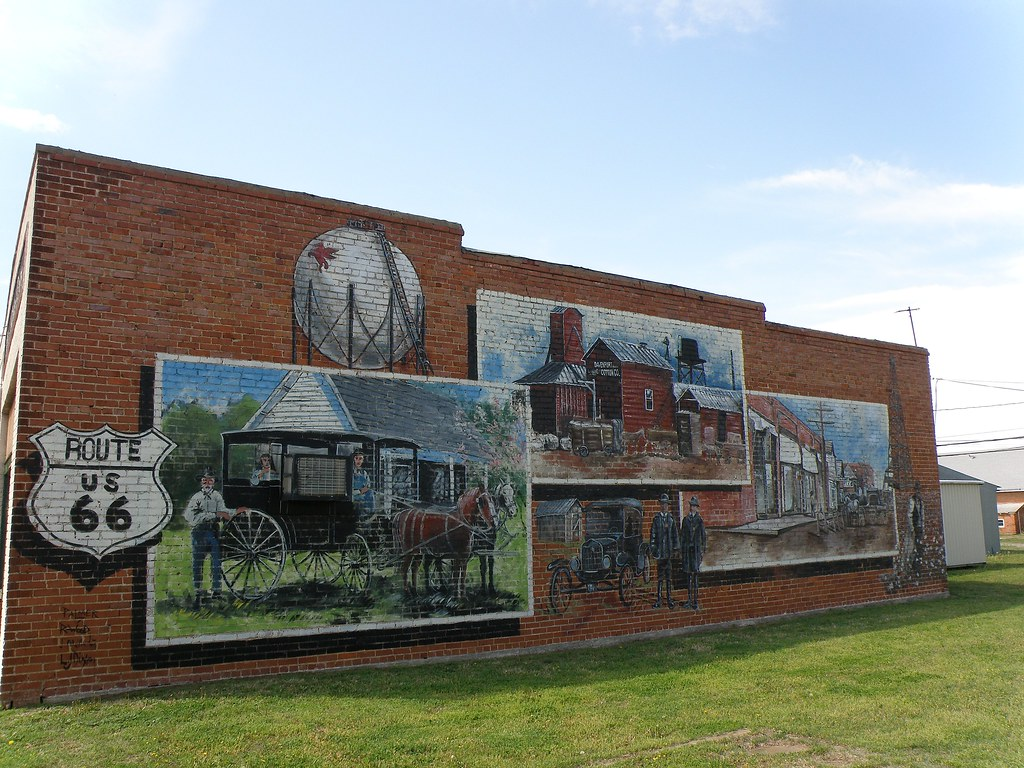 Route 66 history mural davenport ok this mural on the for Route 66 mural