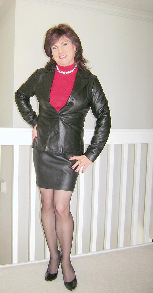 Black Leather Skirt And Jacket  Jackie Darling  Flickr-9855