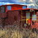 Old red train caboose
