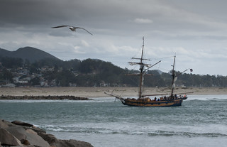 Tall Ships return from a tourist outing in the Pacific Ocean during gale winds in Morro Bay, CA | by mikebaird