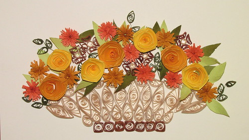 How To Make A Quilling Flower Basket : Quilled flower basket flickr photo sharing
