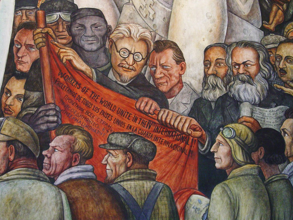 Detail of diego rivera mural leon trotsky karl marx for Diego rivera mural new york rockefeller