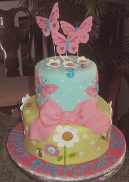 Cake Designs For 4 Year Girl : Birthday Girl cake Based on the napkin for a 3 year old ...